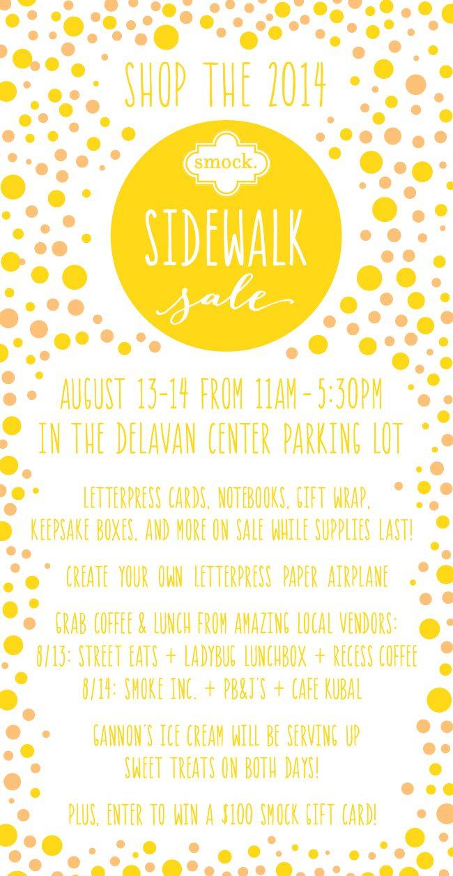 Visit Smock's 2014 Sidewalk Sale! 11am-5:30pm on August 13 & 14