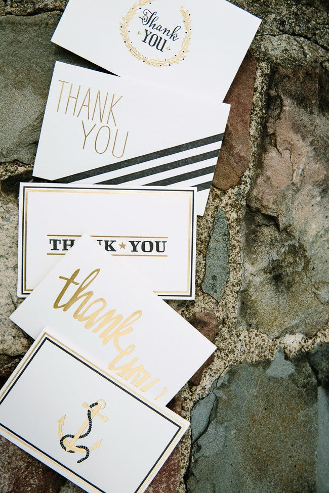 Black & gold foil thank you notes from Smock