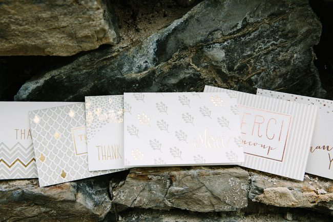 Gold foil, taupe + rose gold foil wedding thank you notes from Smock