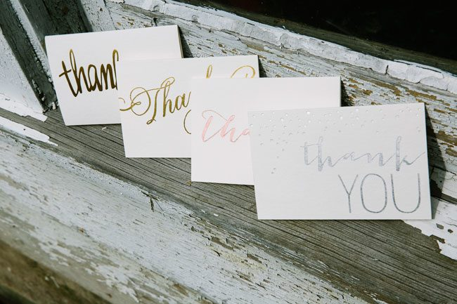 Gold, silver, and rose gold foil stamped thank you notes from Smock