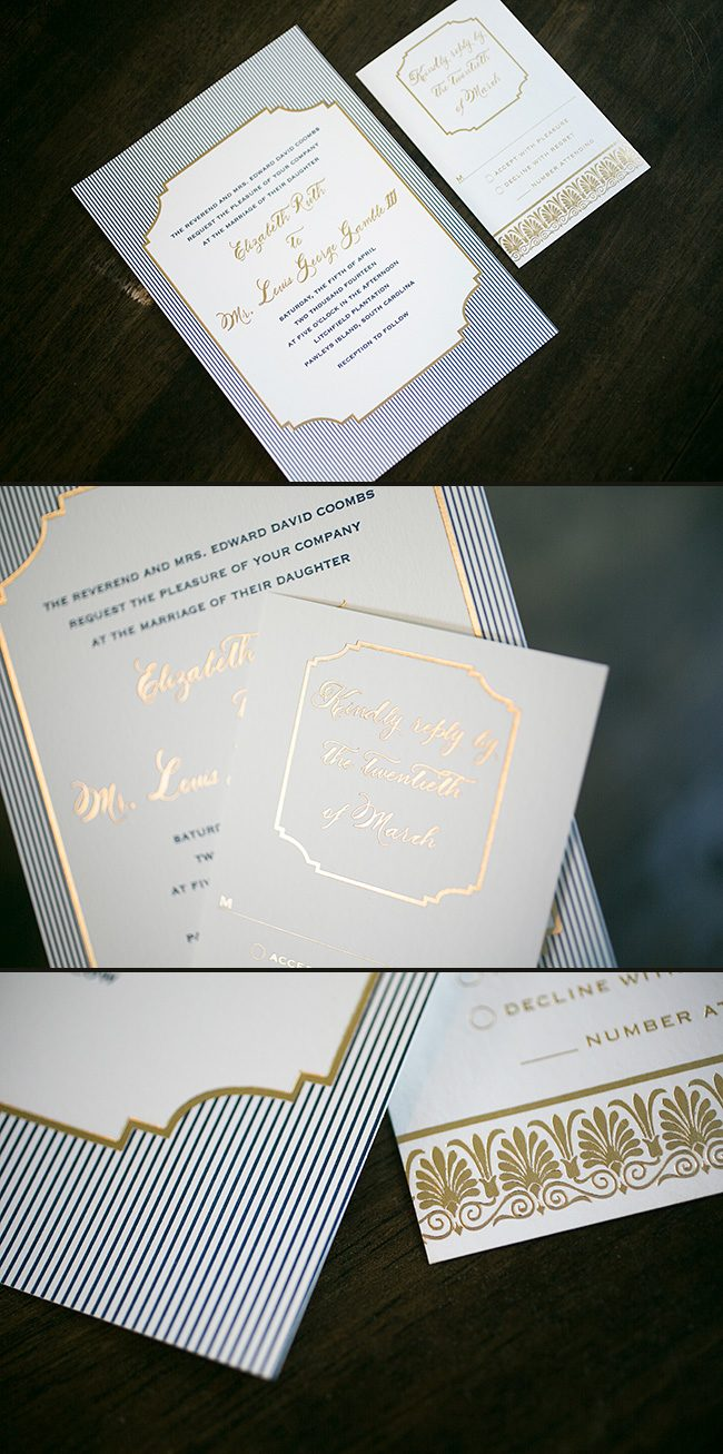 Nautical custom Emory letterpress wedding invitations from Smock