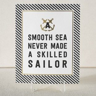 Nautical Smooth Sea letterpress and foil art print from Smock