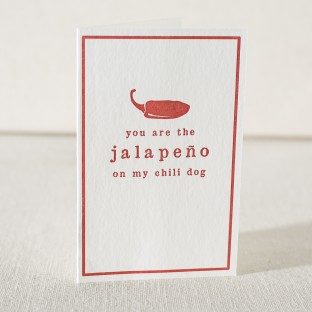 Jalapeño letterpress love card from Smock