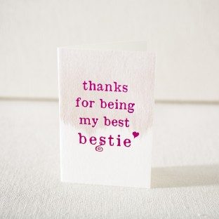 Bestie hot pink foil stamped card from Smock