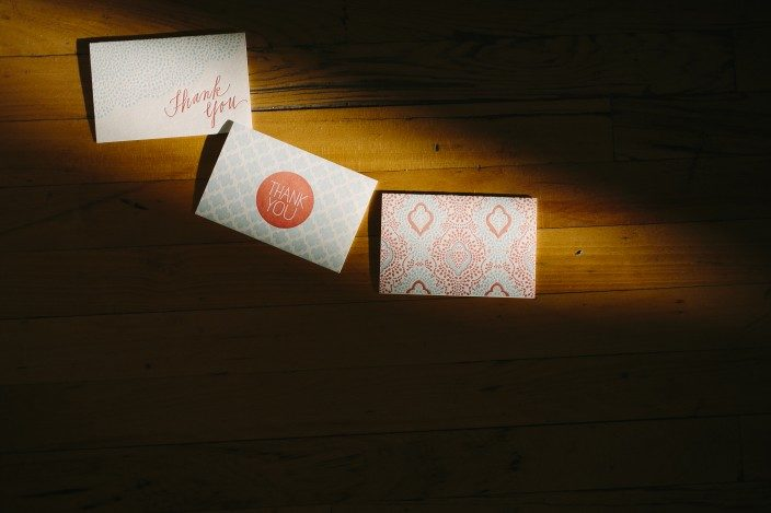 Letterpress thank you notes from Smock