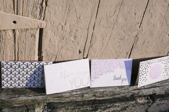 Lilac and silver letterpress and foil stamped thank you notes from Smock