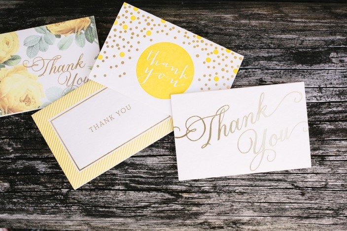 Yellow and gold letterpress and foil stamped thank you notes from Smock