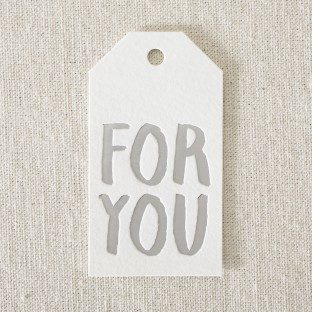 "Silver foil stamped ""for you"" die-cut gift tags from Smock"