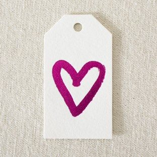 Die-cut hot pink foil stamped heart gift tags from Smock