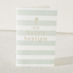 Pale blue Baptism card with gold foil stamping from Smock