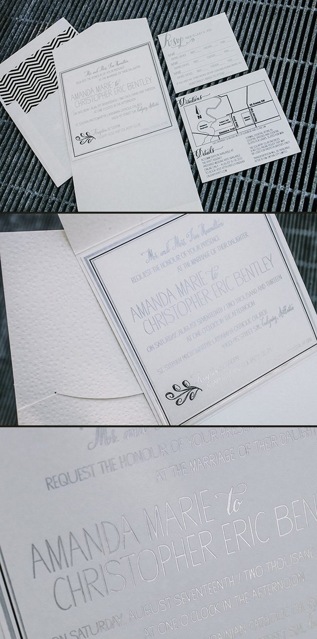 Custom letterpress + foil stamped wedding invitations from Smock