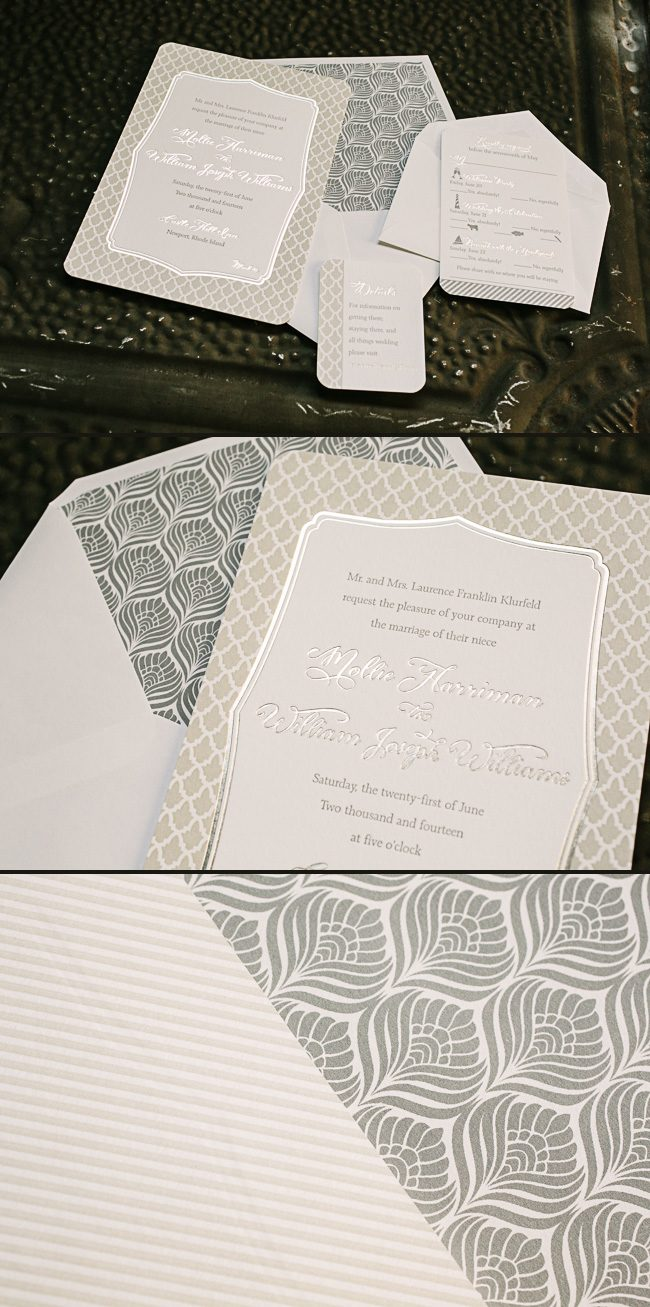 Palmes letterpress wedding invitations from Smock in shades of gray