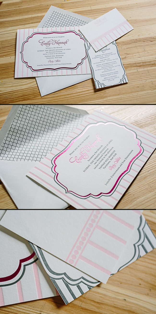 Dawson Parisian Bat Mitzvah invitations from Smock