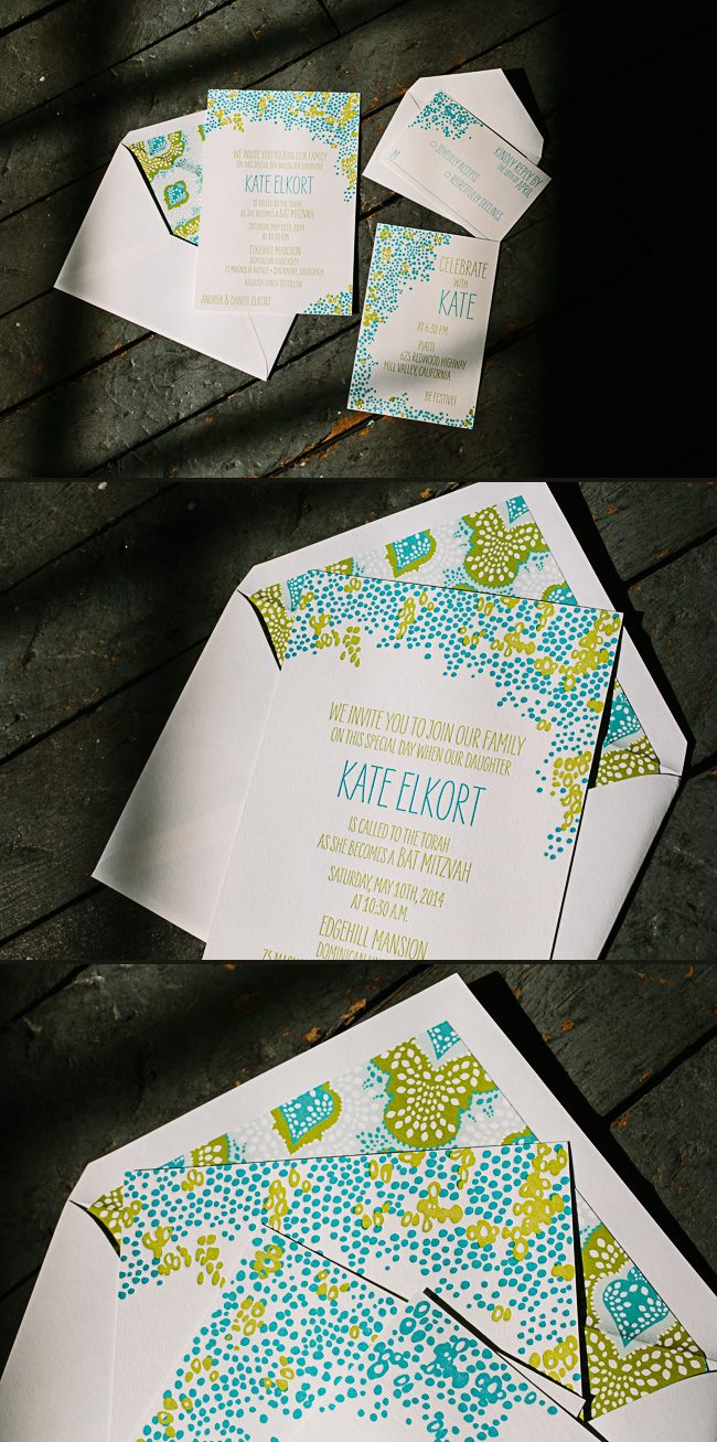 Tatra letterpress Bat Mitzvah invitations from Smock