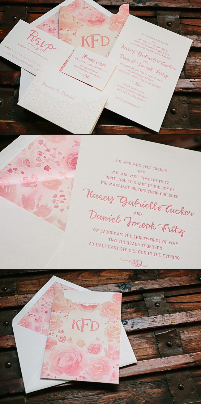 Custom letterpress invitations + floral watercolor invitation sleeves from Gus & Ruby + Smock