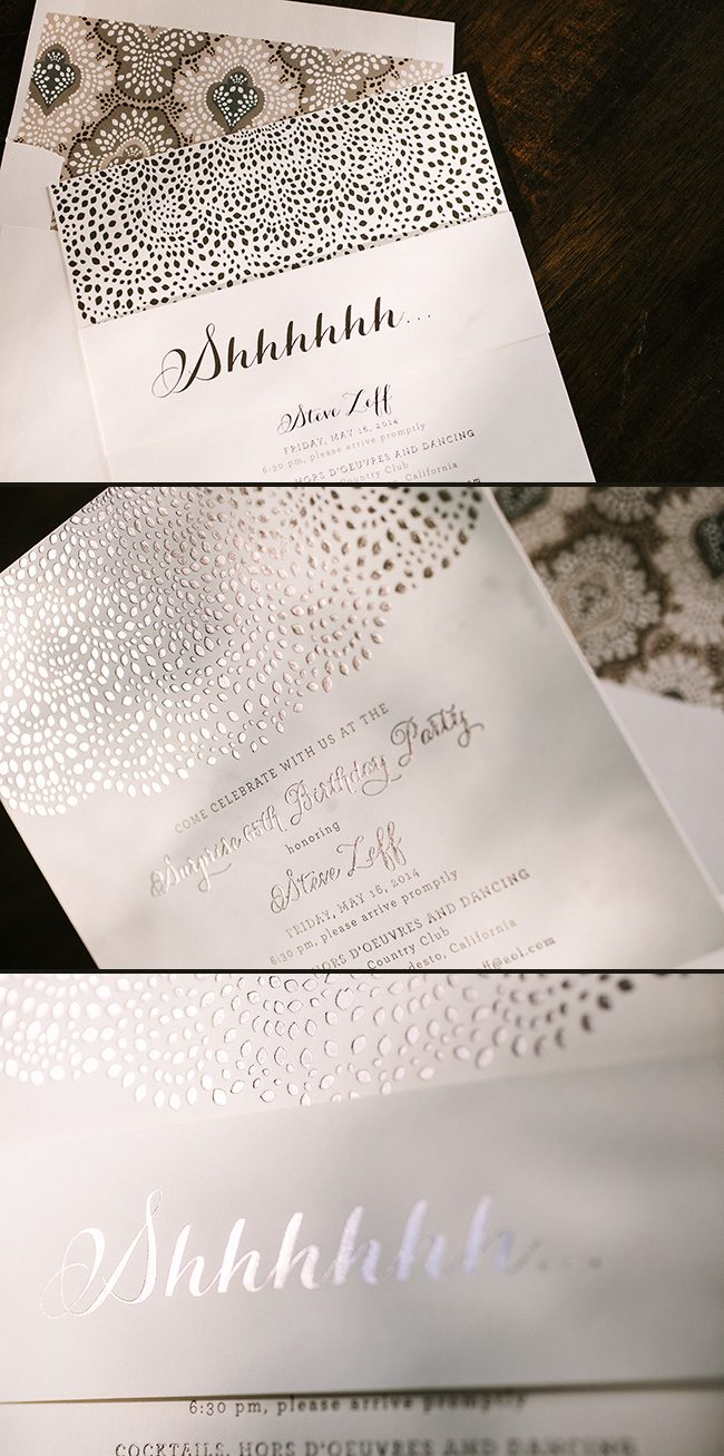 Foil Stamped Surprise Birthday Party Invitations Featuring The Rainier Invitation Design By Smock