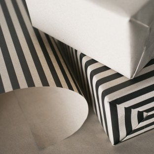 Bar wrap - kraft gift wrap with bold black stripes, sustainably printed on 100% post-consumer recycled paper