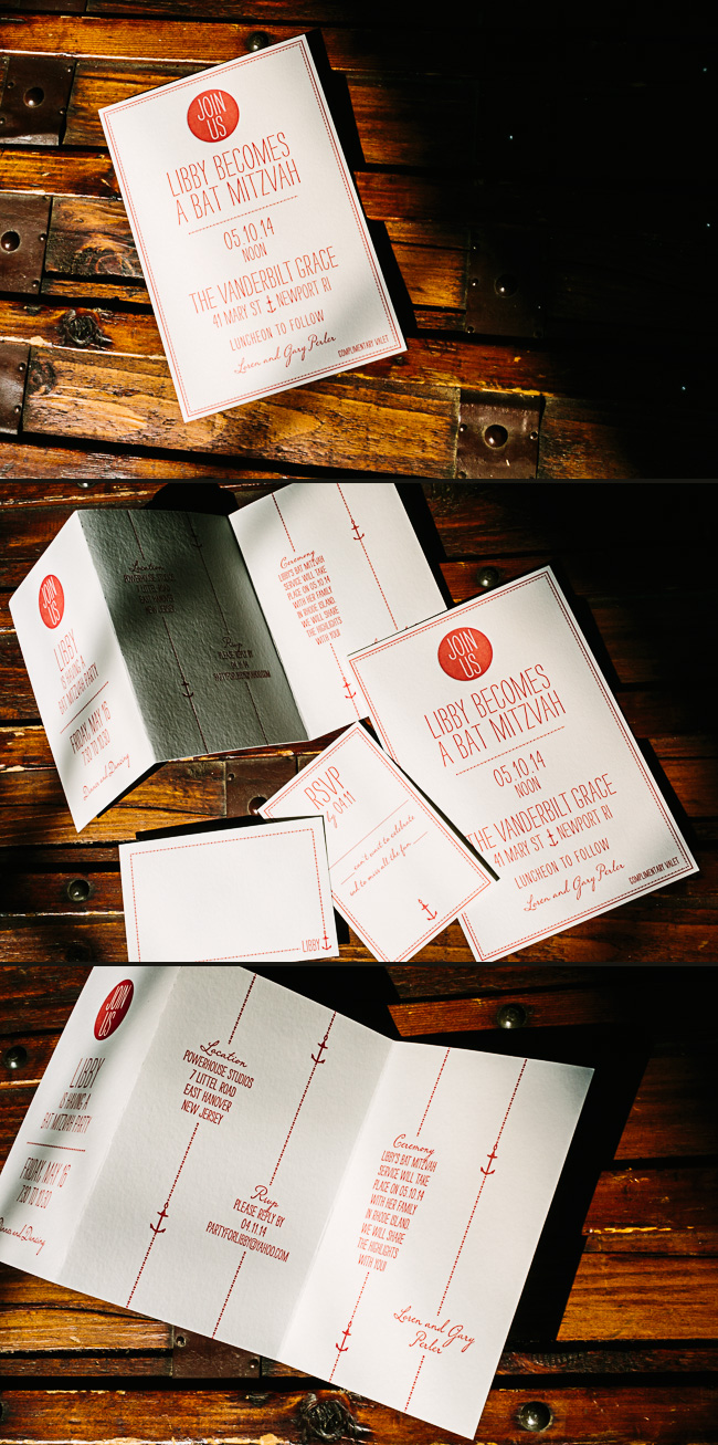These nautical letterpress Bat Mitzvah invitations feature Smock's Fremont design