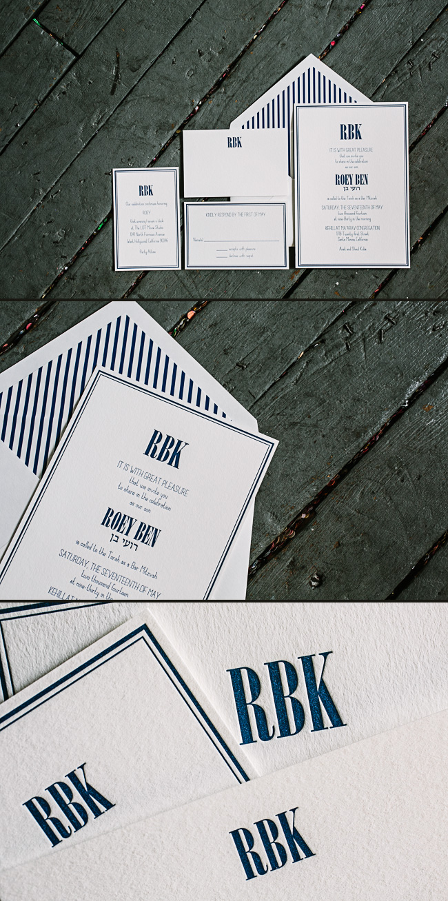 Custom letterpress Bar Mitzvah invitations from Smock