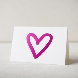 Hot pink foil stamped heart note from Smock