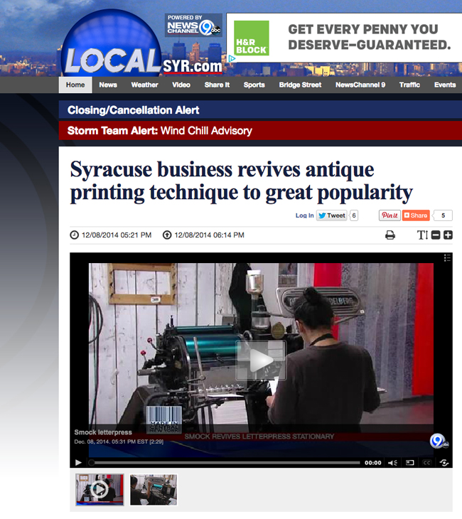 News Channel 9 in Syracuse featured Smock in December 2014!