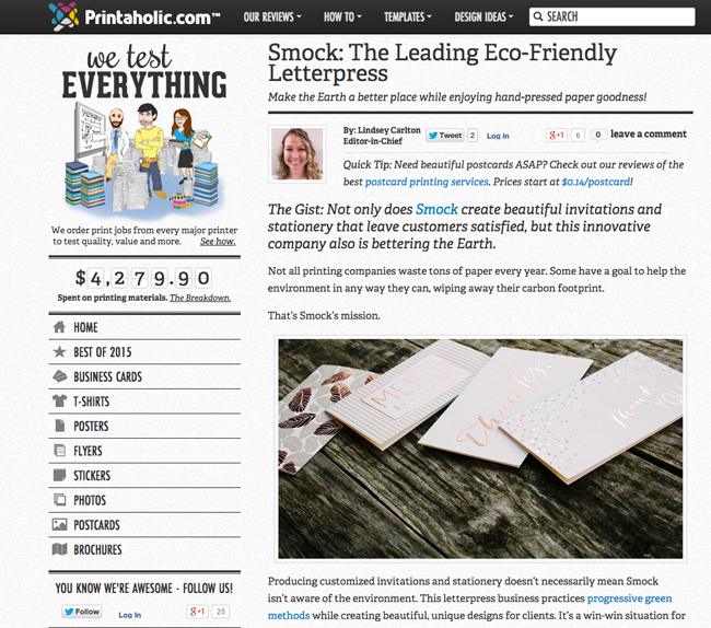 Printaholic feature on Smock
