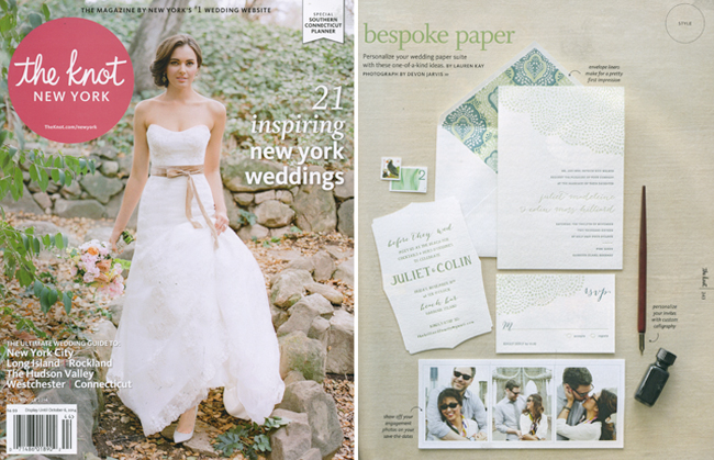 Smock's Rainier letterpress wedding invitations  were featured recently by The Knot