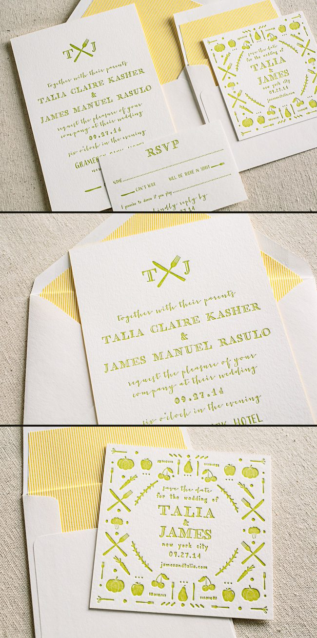 Custom culinary inspired letterpress wedding invitation featuring Smock's Cimarron invitation design
