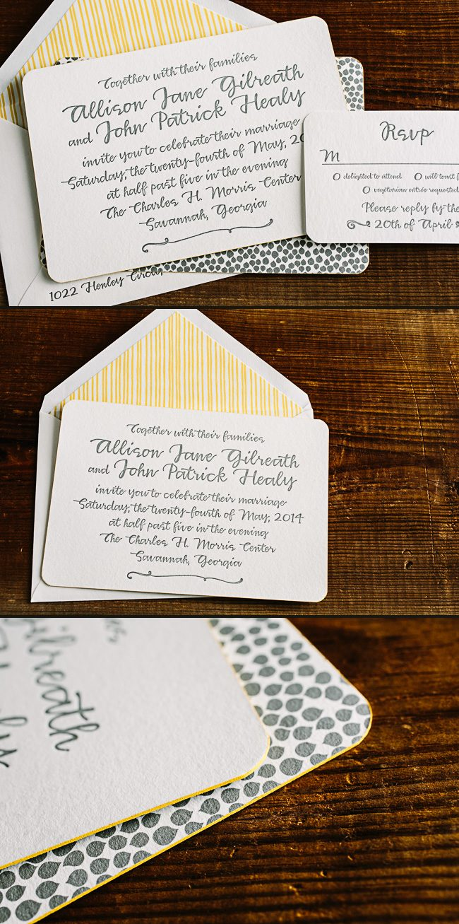 Tallmossen letterpress wedding invitations from Smock