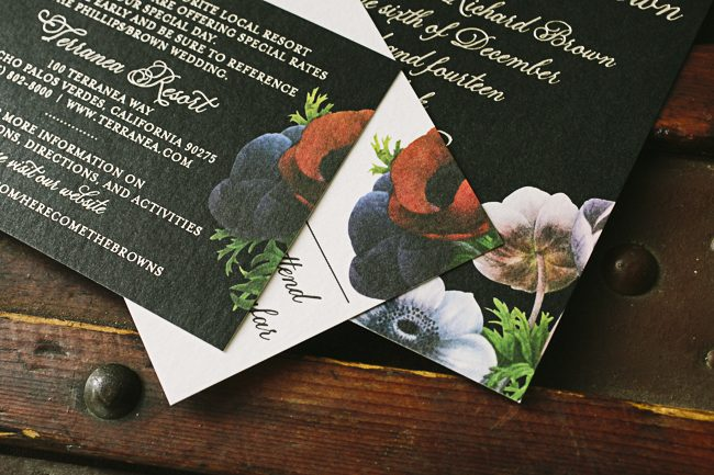 Stunning black invitations with tawny foil + bold florals from Smock