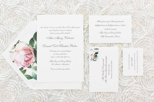 Custom Smock wedding invitations with pink vintage print floral envelope liners - featured on Southern Weddings!