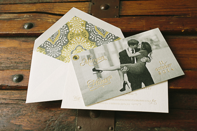 Custom grommeted foil stamped photo save the dates from Smock