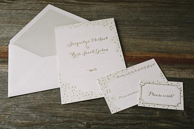 Elegant wedding invitations with foil + letterpress printing from Smock