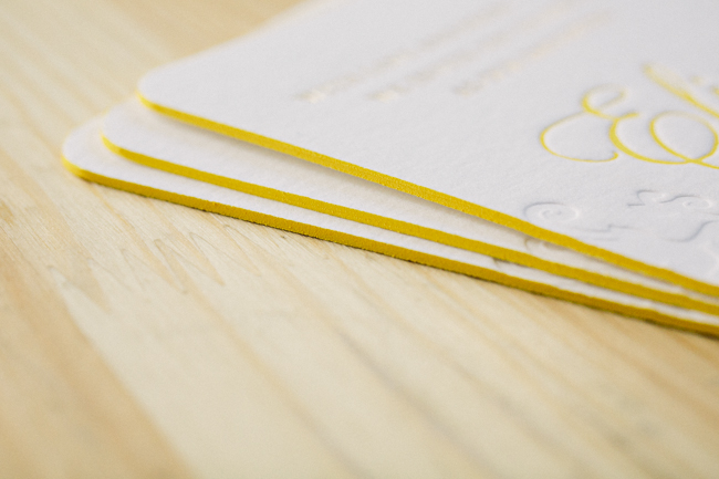 Elegant Finley Bat Mitzvah invitations from Smock with bright yellow edge painting