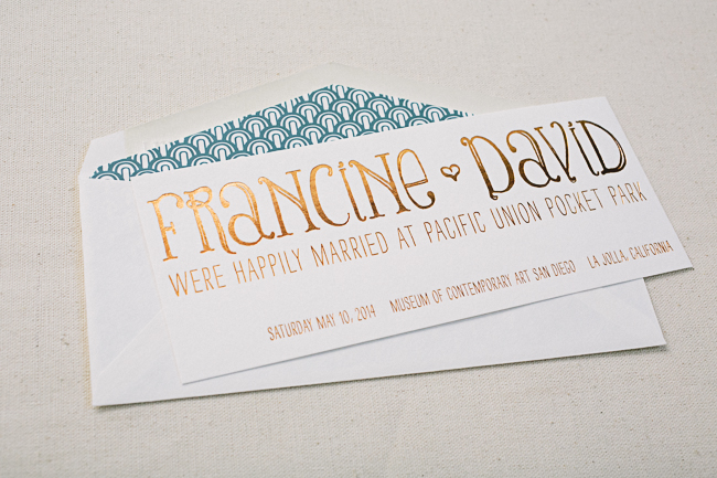 Copper shine wedding announcements with peacock blue envelope liners from Smock
