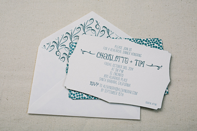 Die-cut + letterpress printed rehearsal dinner invitations from Smock