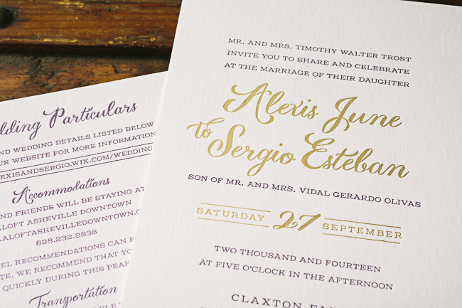 Custom plum + gold foil Barnesly wedding invitations from Smock