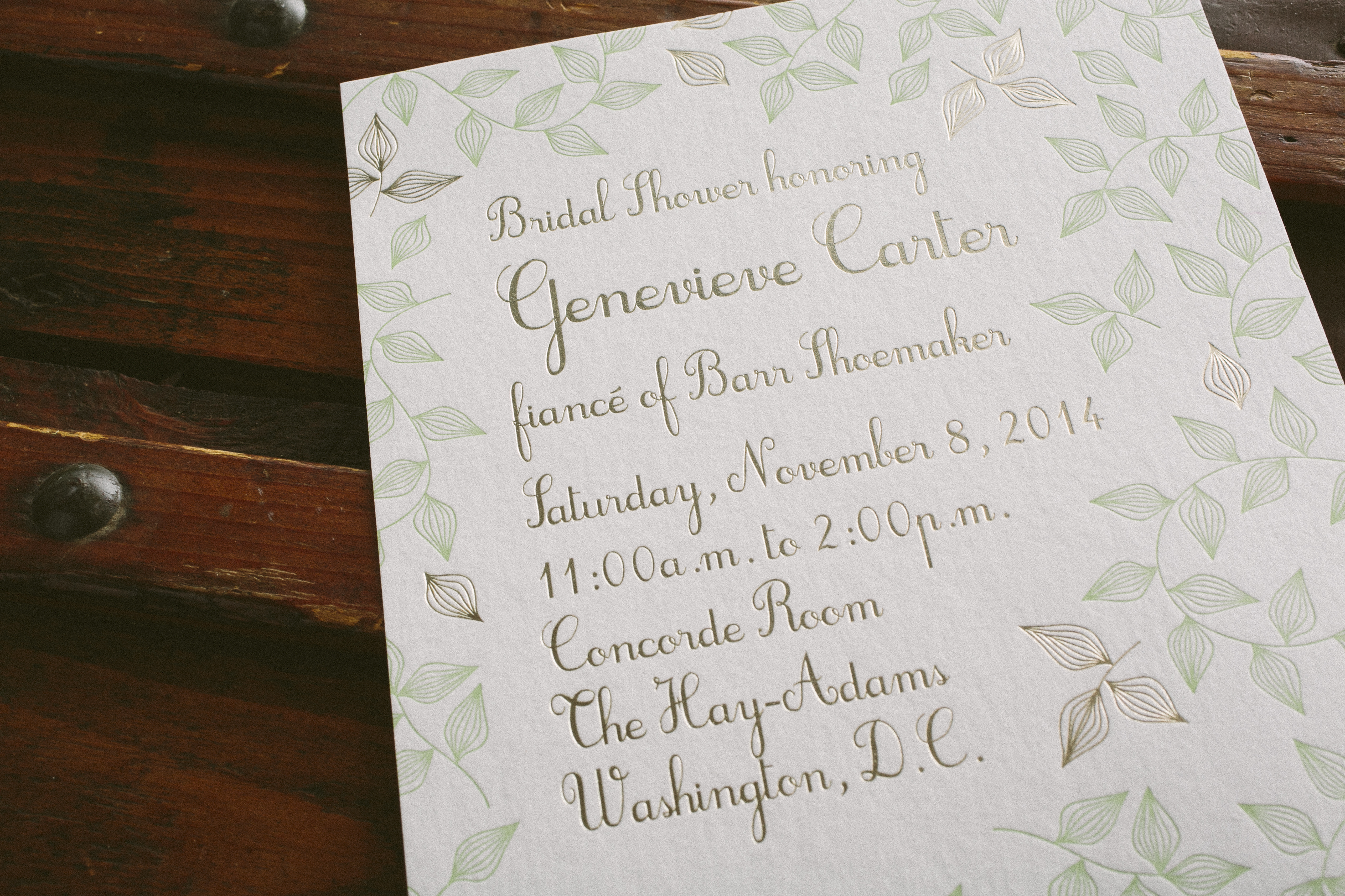 Custom letterpress + foil bridal shower invitations from Smock