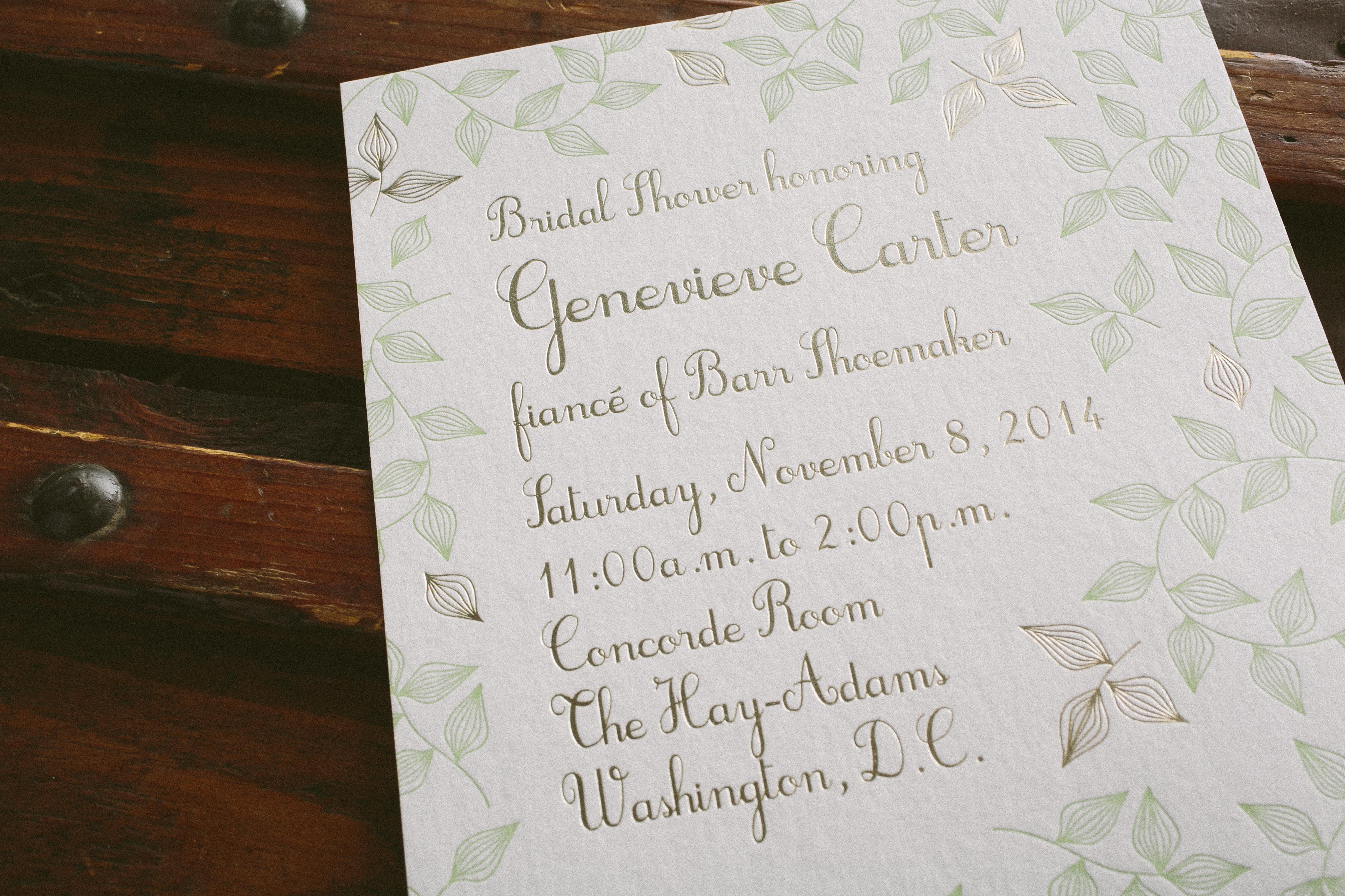 Bridal shower invitations smock custom letterpress foil bridal shower invitations from smock filmwisefo Gallery