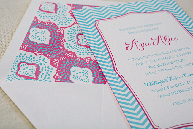 Hot pink + Robin's egg blue letterpress Bat Mitzvah invitations from Smock