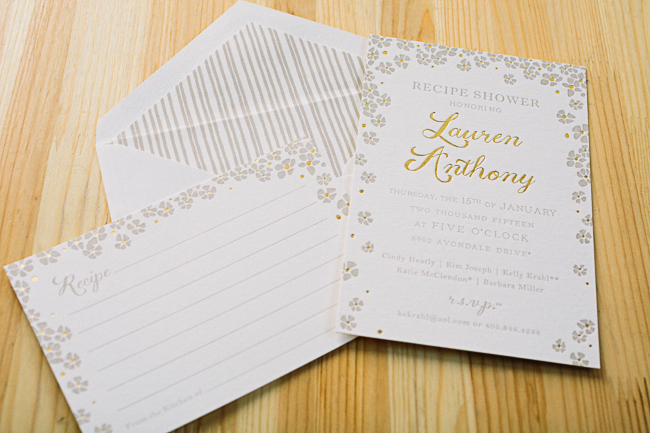 Custom Keira recipe shower invitations from Smock