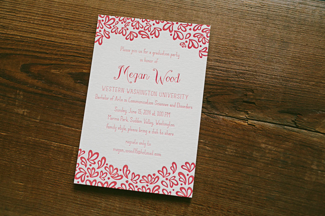 Aneto letterpress graduation party invitations from Smock