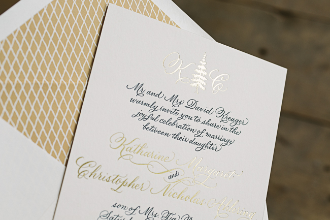 Elegant yet rustic custom wedding invitations from Smock