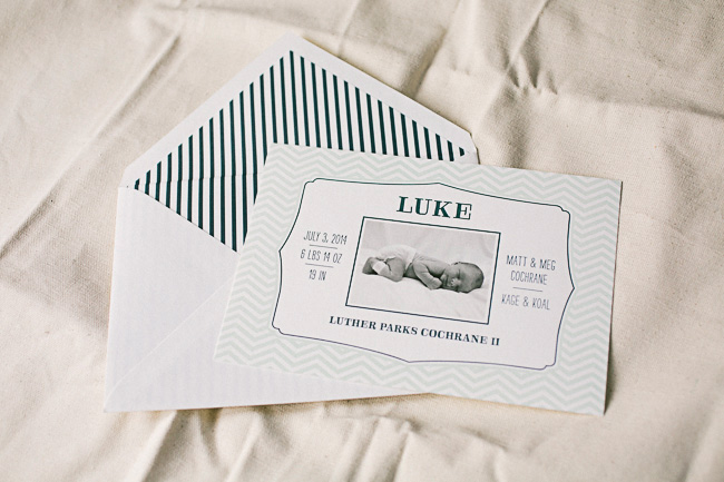 Letterpress + photo birth announcements from Smock