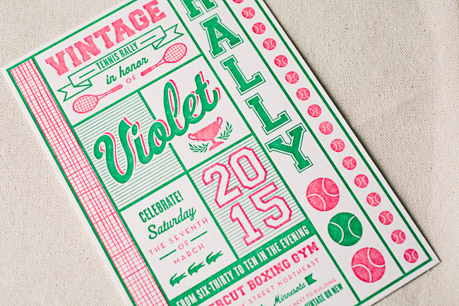 Custom vintage tennis inspired Bat Mitzvah invitations from Smock