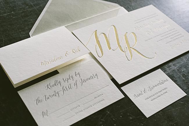Custom gold foil Finley wedding invitations from Smock