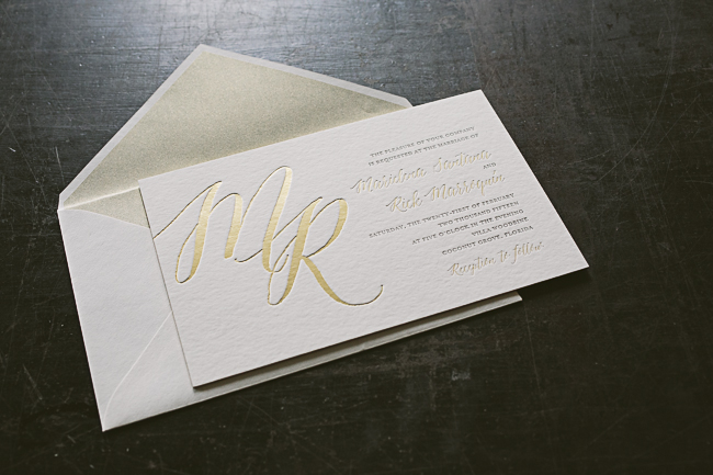 Gold Foil Stamped Wedding Invitations: Oversized Gold Foil Monogram Wedding Invitations