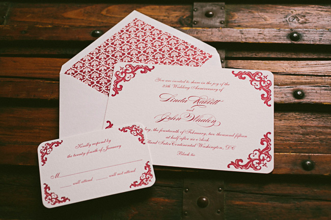 Letterpress invitations for a 25th Wedding Anniversary party