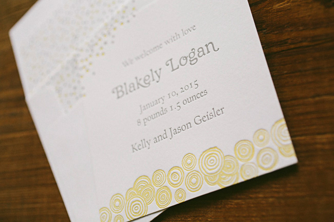 Custom confetti inspired birth announcements + social notes from Smock