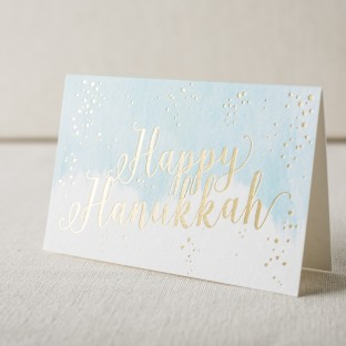 Happy Hanukkah gold foil stamped cards from Smock